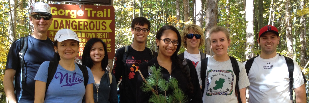 Syracuse University geography students and faculty hiking in 2013 at Whetstone Gulf State Park